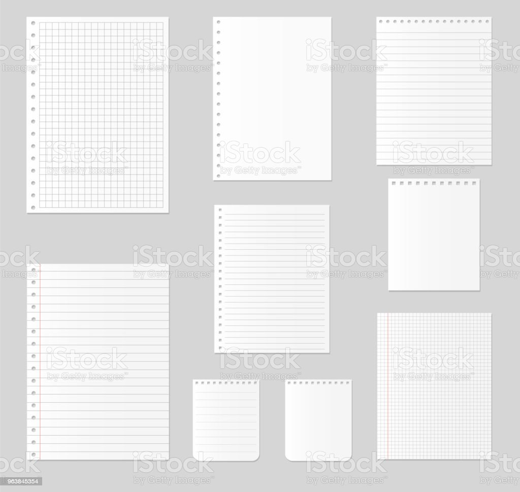 Notebook paper set. Vector illustration - Royalty-free Adhesive Note stock vector