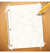 Notebook paper background with copyspace. EPS 10 file. Transparency used on highlight elements.