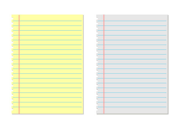 notebook paper yellow and white. lined paper - yellow stock illustrations