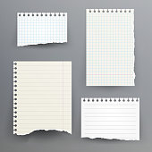 istock Notebook Papers With Torn Edge Vector Illustration. Ripped Paper Page Set, Empty Damaged Rip Paper 668959242