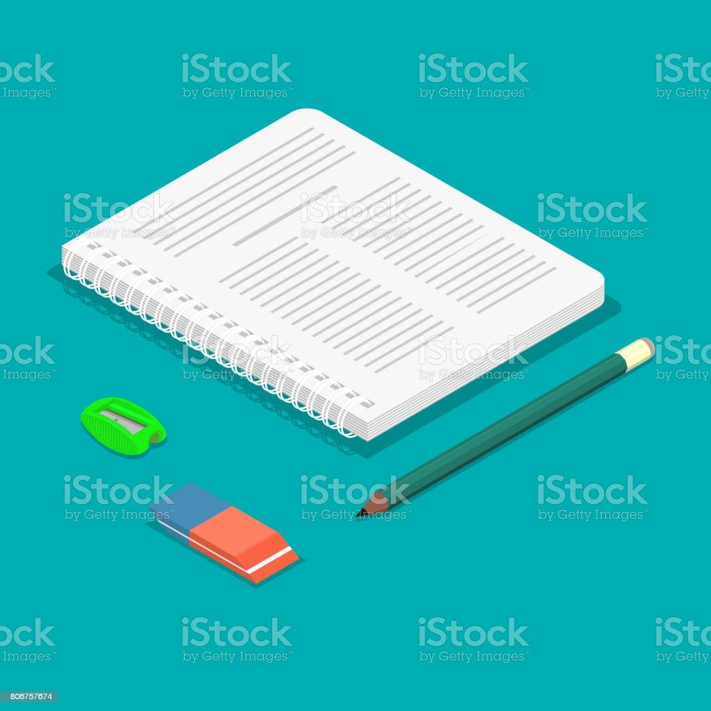 Notebook, pencil, eraser vector art illustration
