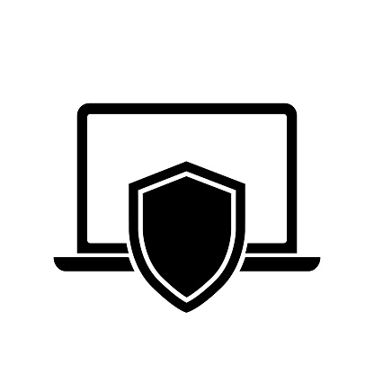 Notebook protection symbol vector icon. Laptop insurance black icon isolated on white background.