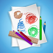 Notebook sheet and school supplies on colorful bright background, stationery postcard back to school. Vector eps 10 illustration
