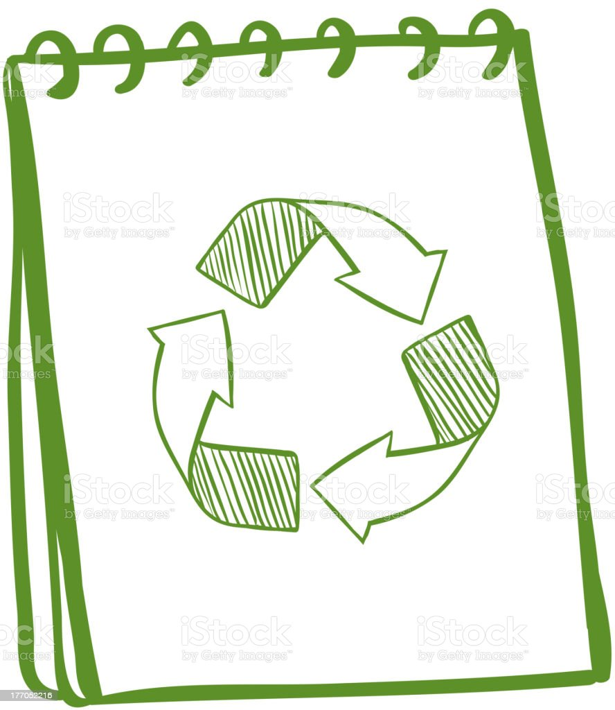 Notebook showing the recycle signs royalty-free stock vector art