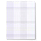 Notebook squared paper background isolated