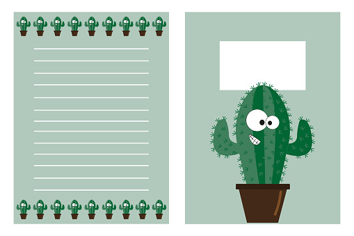 Notebook template set, with cute cacatus.