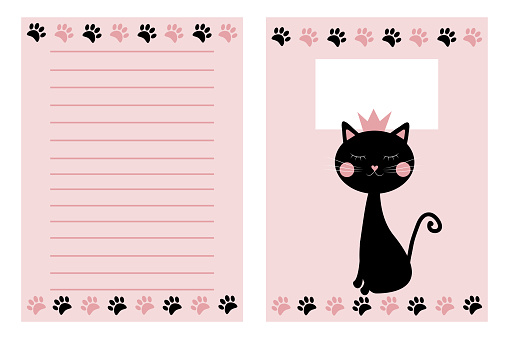 Notebook template set, with hand drawn cat.