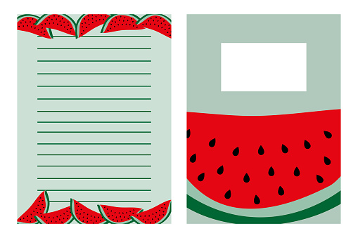 Notebook template set, with hand drawn watermelon.