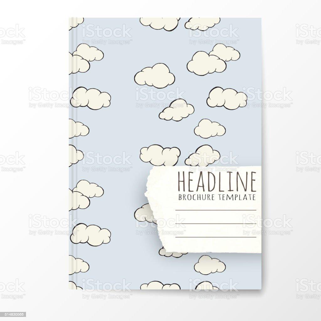 Notebookvorlage Mit Handgezeichnet Cloudmuster Vektor Illustration ...