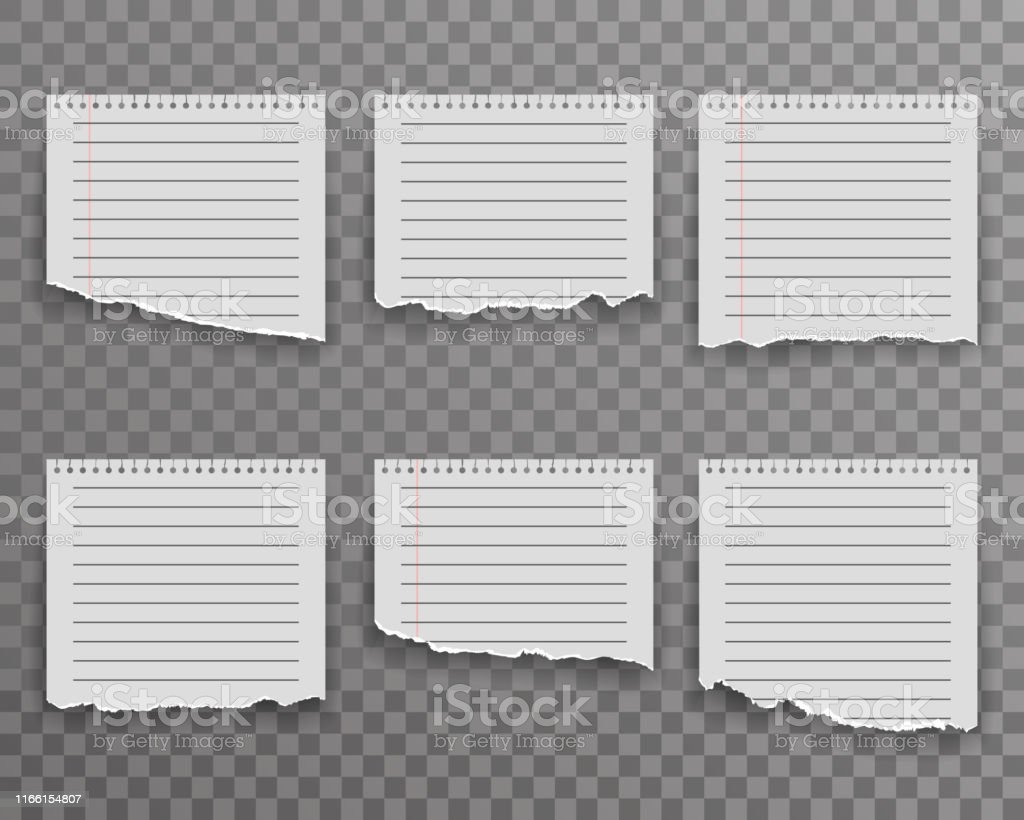 Notebook torn paper edge notes sheet ripped realistic decoration...
