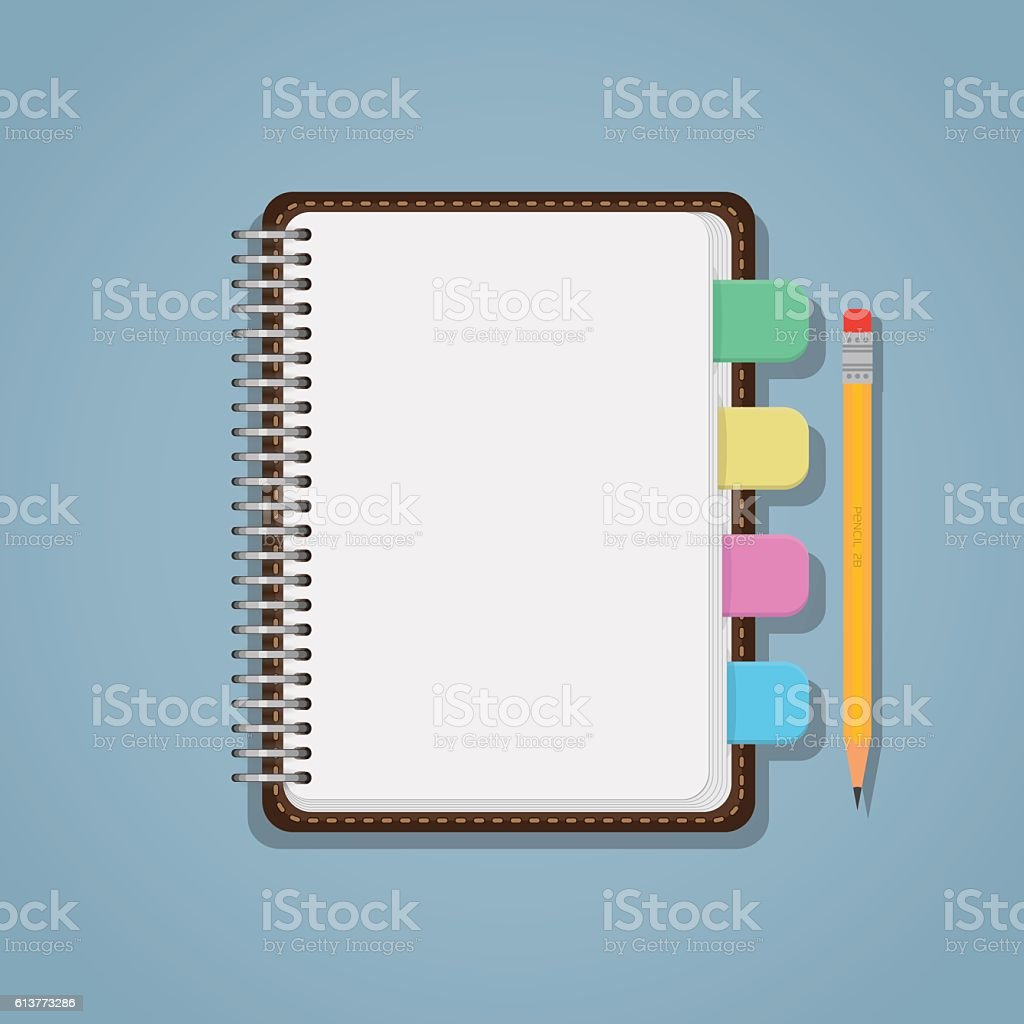 Notebook with bookmarks and pencil vector art illustration