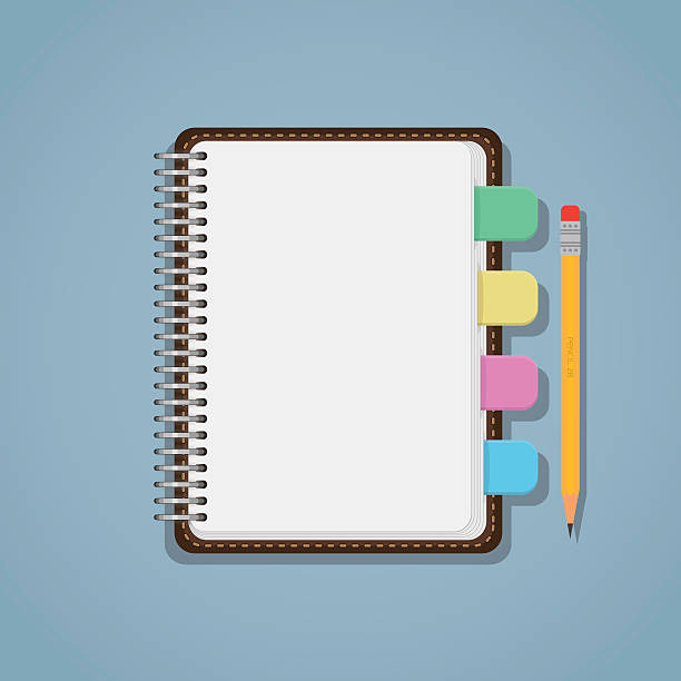 Notebook with bookmarks and pencil Flat realistic blank notebook with colorful bookmarks and pencil. diary stock illustrations