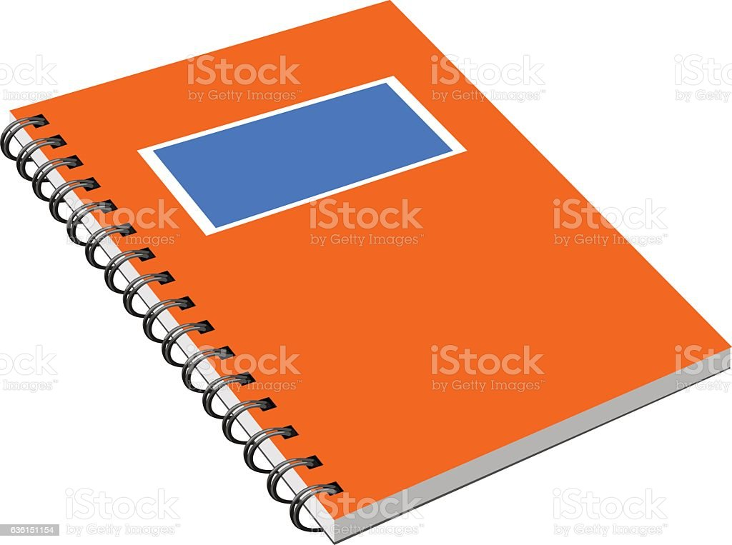 Notebook with metal spiral vector art illustration