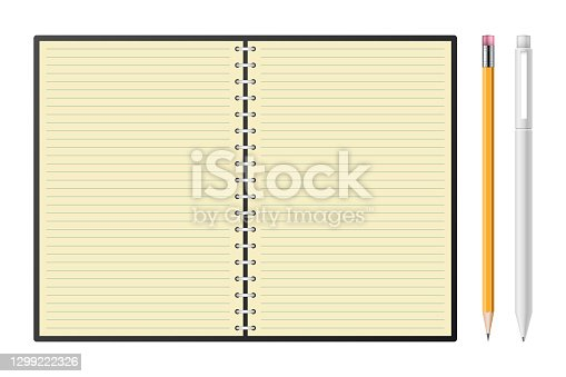 istock Notebook with pencil and pen vector illustration 1299222326
