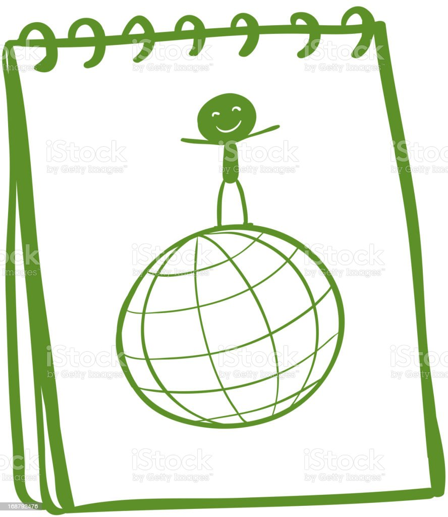 notebook with  sketch of  boy above  globe royalty-free stock vector art