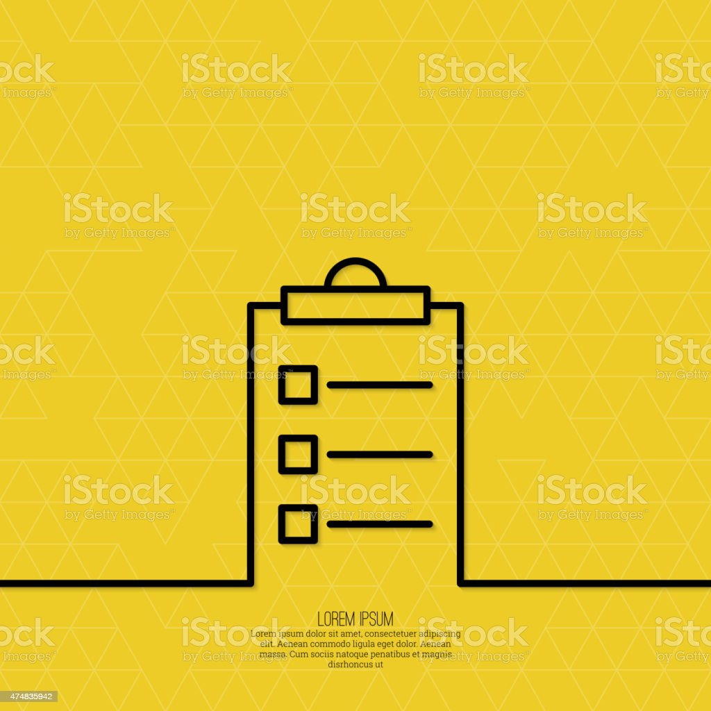 Notebook with to do list vector art illustration