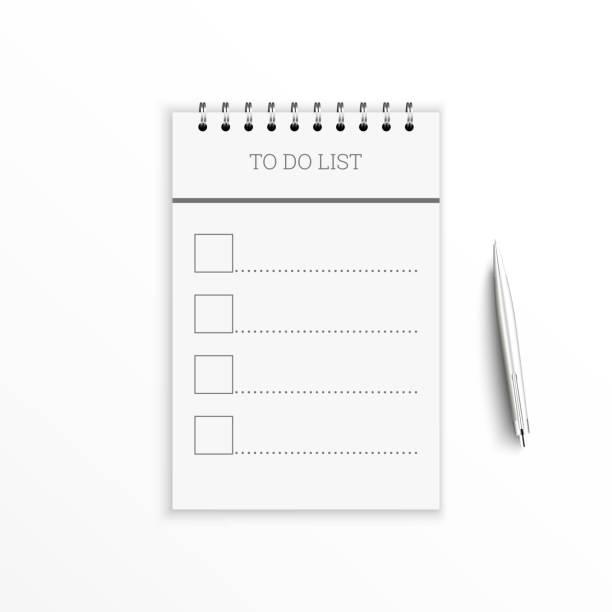 illustrazioni stock, clip art, cartoni animati e icone di tendenza di portatile con lista di cose da fare. - to do list