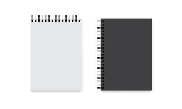illustrations, cliparts, dessins animés et icônes de cahiers sur un cheval-arrière blanc maquette vers le haut de vecteur - ellen page