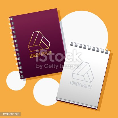 notebooks with traingle emblems mockup branding vector illustration design