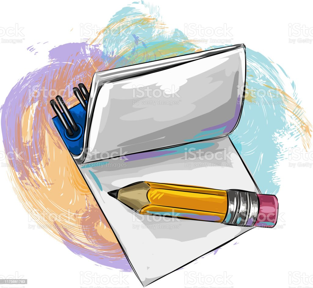 https www istockphoto com vector notepad and pencil drawing gm1175681783 327482083