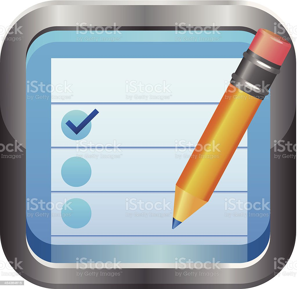 Notepad and Pencil icon royalty-free stock vector art