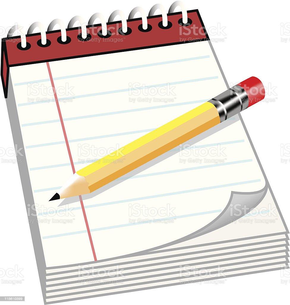 Notepad and Pencil royalty-free stock vector art