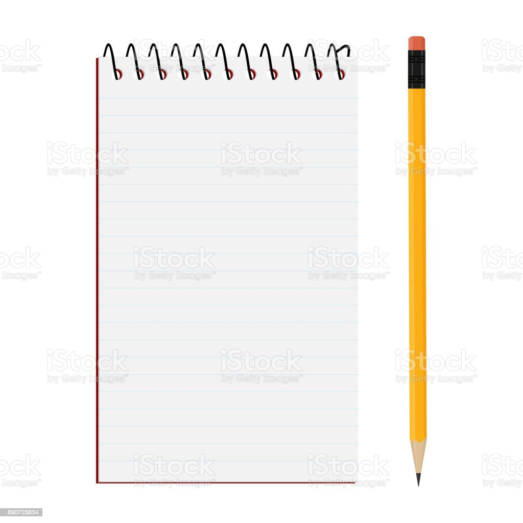 Notepad and pencil vector art illustration