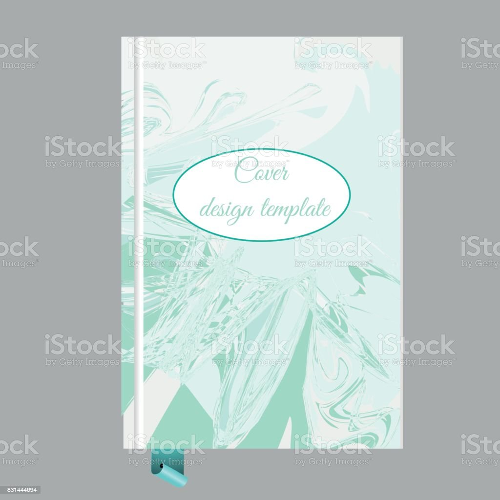 Notepad Book Cover Design Template With Abstract Marbling Effect