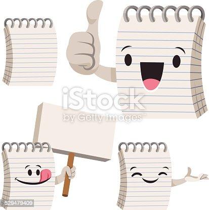 Cartoon notepad set including:
