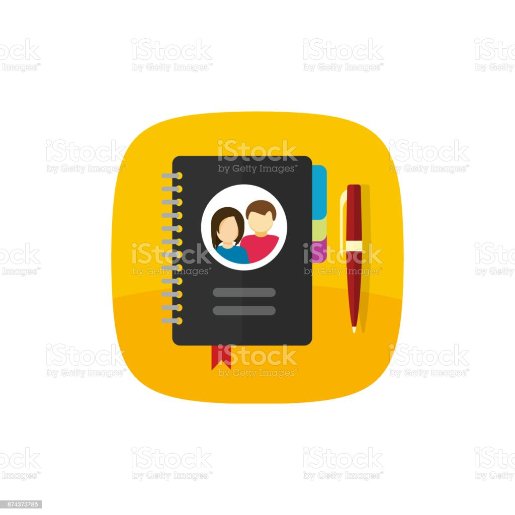 Notepad for contacts vector icon or button illustration isolated, flat cartoon style paper notebook with bookmarks and pen, address book or meeting organizer