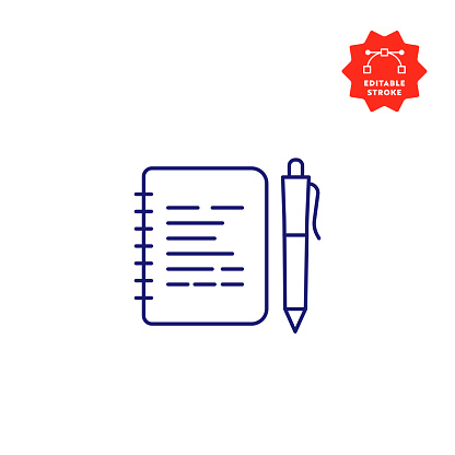 Notepad Line Icon with Editable Stroke and Pixel Perfect.