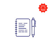 istock Notepad Line Icon with Editable Stroke and Pixel Perfect. 1195259162