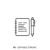 Notepad and Pen Icon with Editable Stroke and Pixel Perfect.