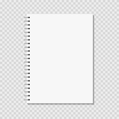 Notepad mock up. Blank pages, copybook with metal spiral template.