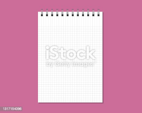 istock Notepad mock up isolated on gray background. Blank pages, copybook with metal spiral template. 1317154096