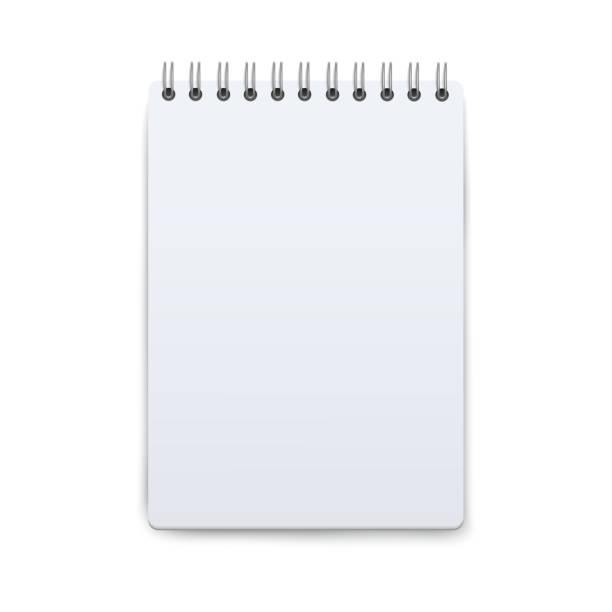 wizualizacja notatnika otwarta na pustej kartce papieru, mała kieszonkowa księga notatek jako szablon wiadomości tekstowych - notes stock illustrations