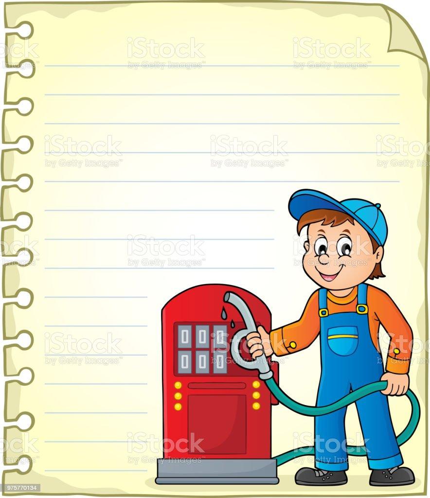 Editor-Seite mit Tankstelle Arbeiter - Lizenzfrei Arbeiten Vektorgrafik