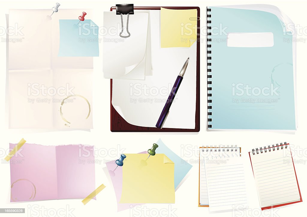Notepad & Paper royalty-free stock vector art