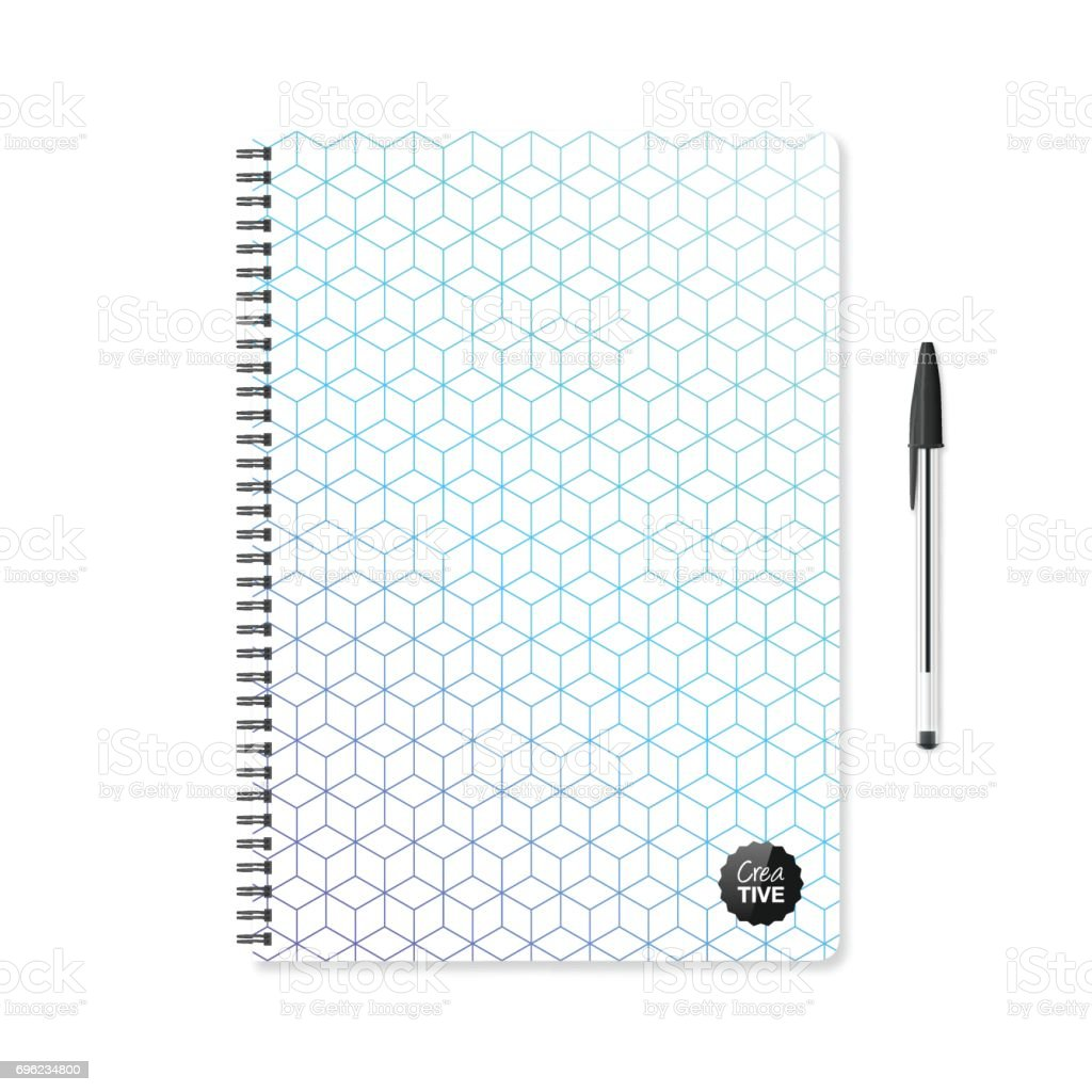 Notepad template with abstract geometric background and ballpoint pen vector art illustration