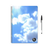 Realistic notebook with blurred blue sky and clouds and a black pen, isolated on white background.
