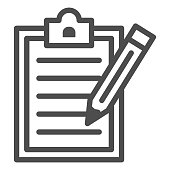 Notepad with pencil line icon, science concept, Checklist with pen sign on white background, Notebook and pencil icon in outline style for mobile concept and web design. Vector graphics