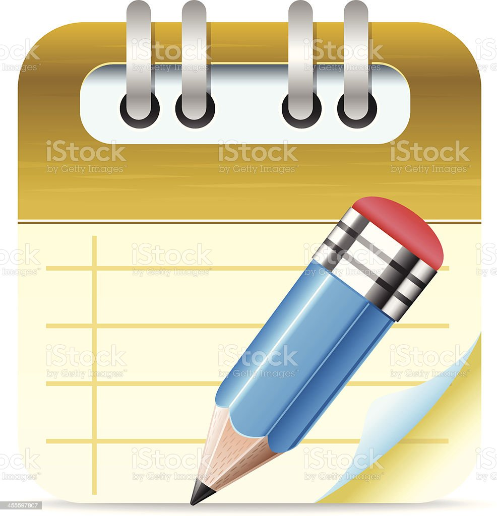 Notepad with Pencil royalty-free stock vector art