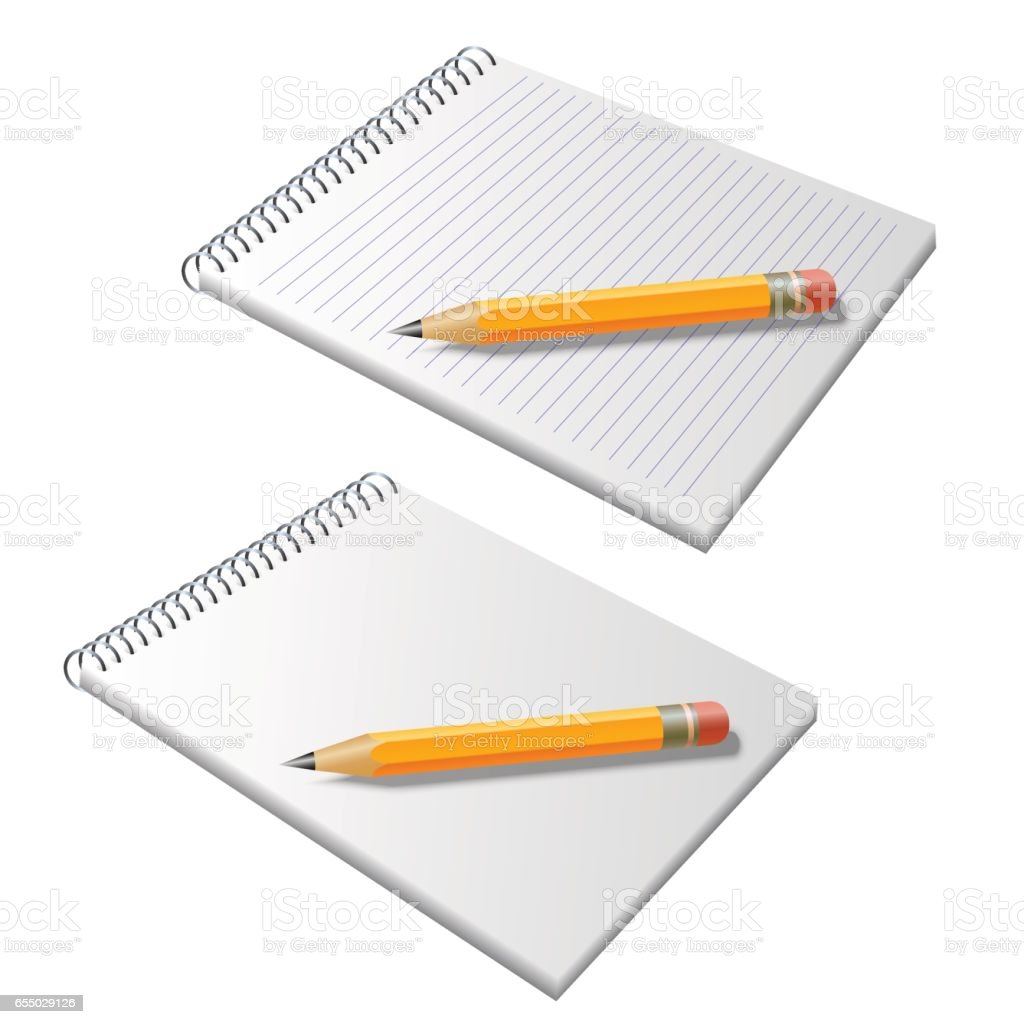 Notepad with pencil vector art illustration