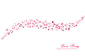 Notes and hearts on the horizontal lines. Love Music decoration element isolated on the white background.