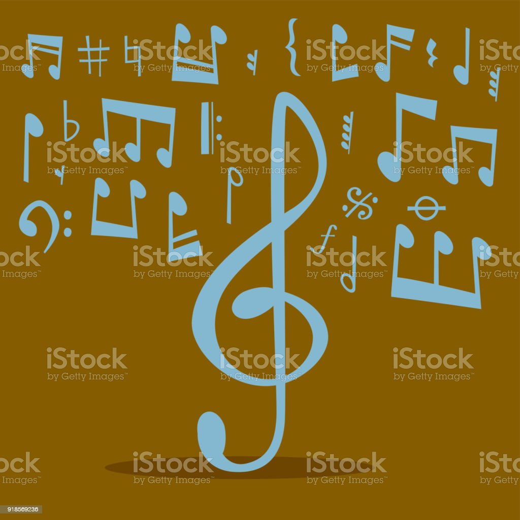 Nimmt Musik Melodie Colorfull Musiker Symbole Sound Melodie Text ...