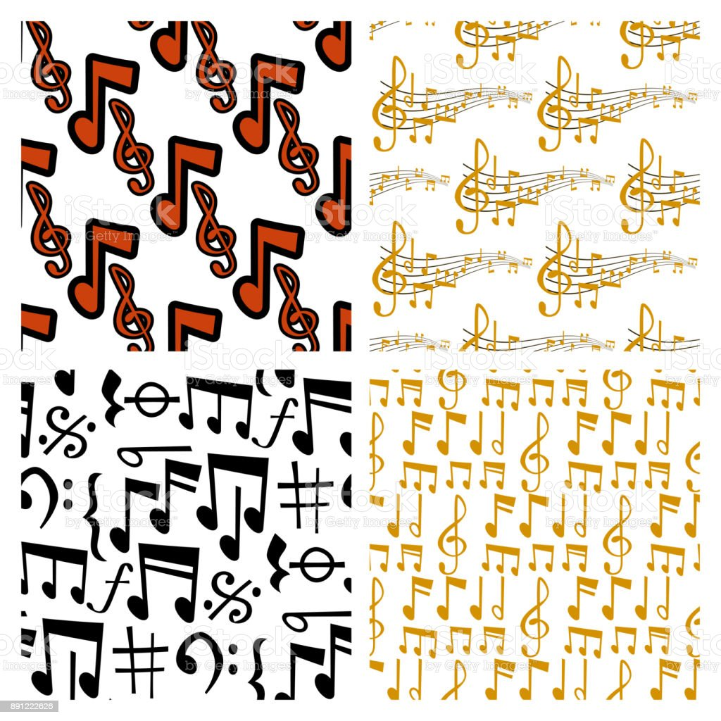 Notes music vector melody colorfull musician symbols sound notes melody text writting audio musician symphony illustration seamless pattern background vector art illustration
