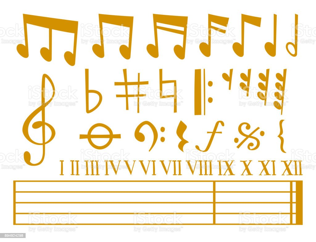 Notes music vector melody colorfull musician symbols sound notes melody text writting audio musician symphony illustration vector art illustration