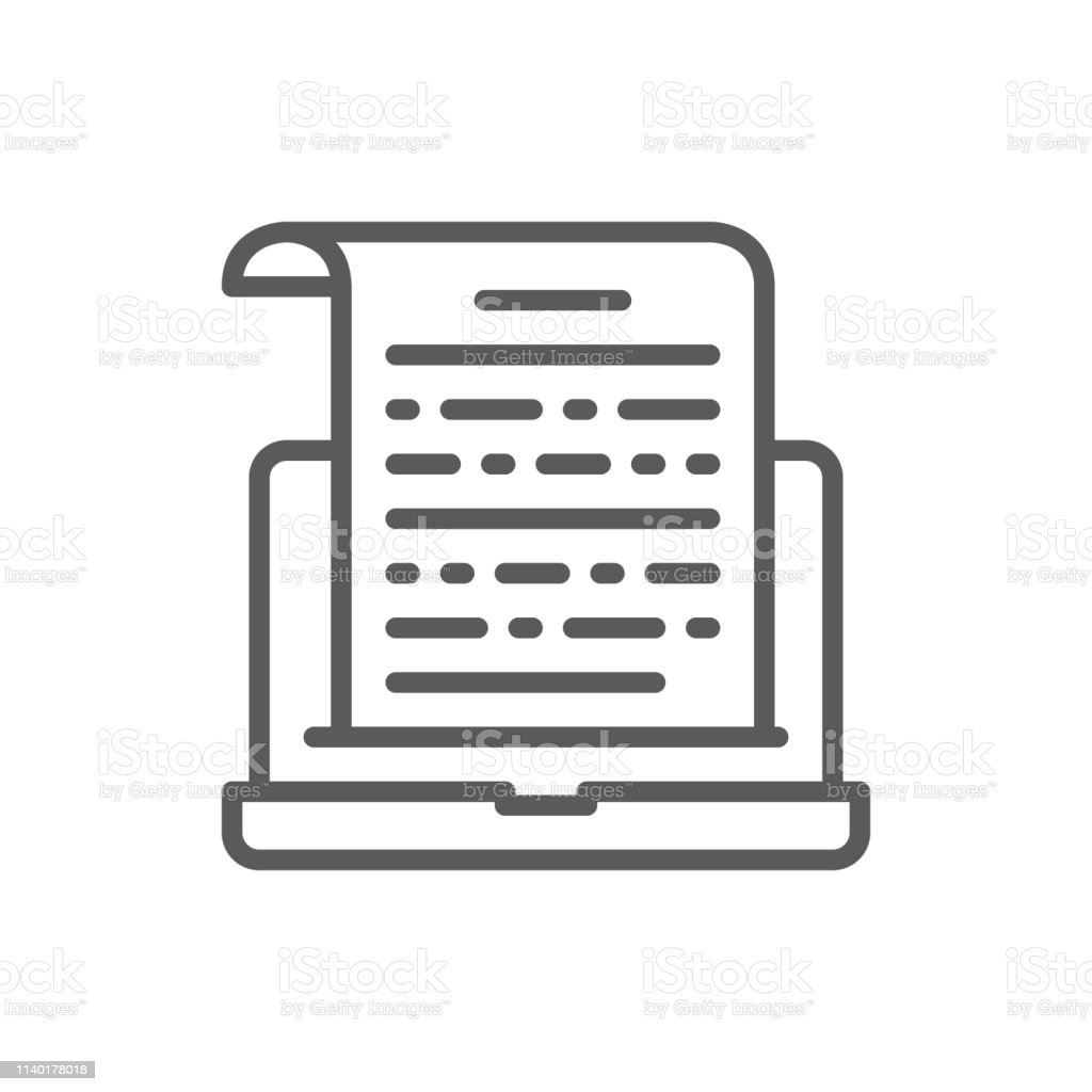 Notes On Laptop Presentation Text Entries Line Icon Stock