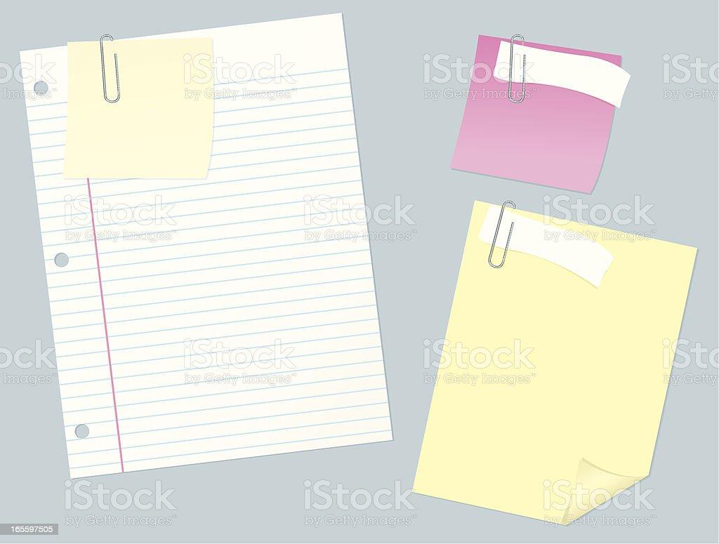 Notas de papel con Paperclips ilustración de notas de papel con paperclips y más banco de imágenes de artículo de papelería libre de derechos