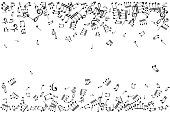 Notes borders. Music decoration element isolated on the white background.